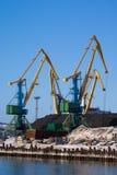 Cranes. Port of Murmansk. Cranes loading coal royalty free stock photo
