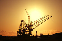 Cranes. In the harbor of Amsterdam, Netherlands Royalty Free Stock Images