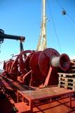Cranes aboard a cargo ship Stock Image