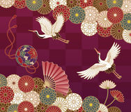 Cranes And Chrysanthemums Japanese Traditional Pattern Royalty Free Stock Image
