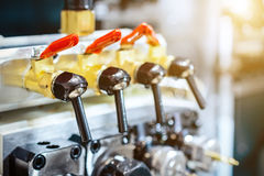 Cranes and apparatus for supplying coolant to the cutting tool. Royalty Free Stock Image