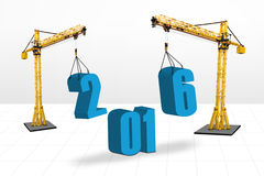 Cranes arrange numbers 2016. Image of two cranes arrange numbers 2016. on white background Vector Illustration