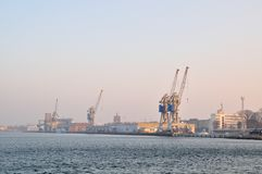 Cranes. Big cranes standing on the industrial shore in sea harbour royalty free stock photo