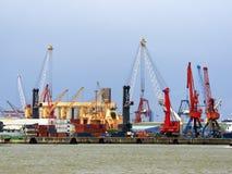 Cranes in Bilbao Harbor Stock Photo