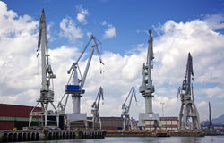 Cranes at Bilbao port Royalty Free Stock Images