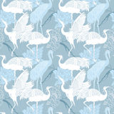Cranes birds seamless pattern. Cranes birds seamless light blue color pattern Stock Photography