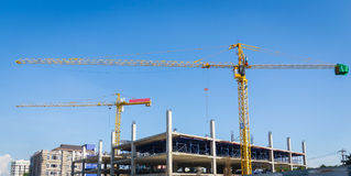 Cranes building construct site Royalty Free Stock Image