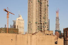 Cranes and buildings Stock Photo