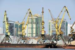 Cranes in the cargo port Stock Photos