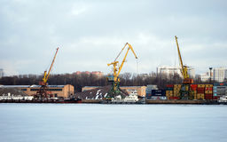 Cranes in cargo port. Moscow Stock Photography