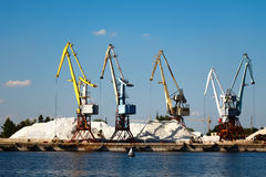 Cranes at the cargo port in Syzran Royalty Free Stock Photos