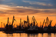 Cranes and cargo ships in Varna port at sunset Stock Image