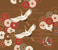 Cranes and chrysanthemums Japanese traditional pattern Stock Images