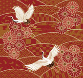 Cranes and chrysanthemums Japanese traditional wave pattern Royalty Free Stock Photo