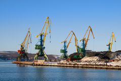 Cranes, coal and vessel Royalty Free Stock Image