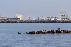 Cranes in Constanta shipyard royalty free stock photo