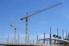 Cranes in constructin Royalty Free Stock Image