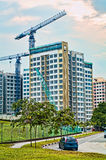 Cranes construction building modern city structure Royalty Free Stock Image