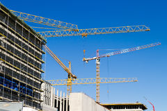 Cranes on a construction site Royalty Free Stock Images