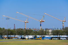 Cranes in construction site Royalty Free Stock Photos