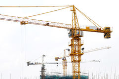 The cranes on construction site Royalty Free Stock Photography