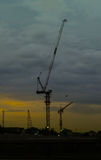 Cranes on a construction site in Bangkok,Thailand Royalty Free Stock Photography