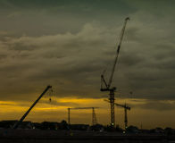 Cranes on a construction site in Bangkok,Thailand Stock Photography