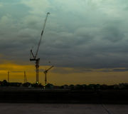 Cranes on a construction site in Bangkok,Thailand Stock Images