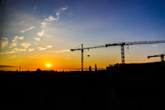 Cranes on the construction site in Berlin Royalty Free Stock Photography