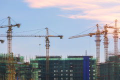 Cranes on a construction site in China.  Stock Images