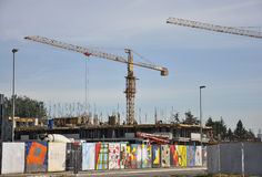 Cranes at construction site Stock Photography