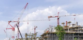 Cranes on construction site Stock Photography
