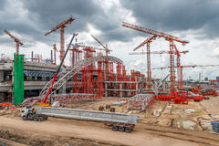 Cranes on Construction Site, Expressway in Asia Stock Photography