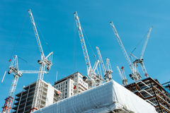 Cranes and construction site royalty free stock photo
