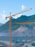 Cranes at a construction site Royalty Free Stock Photos