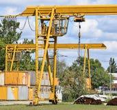 Cranes at the construction site stock photos