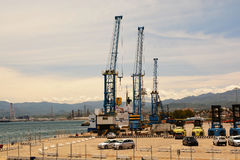 Cranes in construction site Stock Photo
