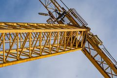 Cranes in a construction site stock image