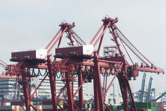 Commercial container port in Hong Kong Stock Photo