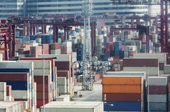 Commercial container port in Hong Kong Royalty Free Stock Photography