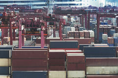 Commercial container port in Hong Kong Royalty Free Stock Images