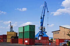 Cranes and Containers Stock Photos