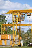Cranes and containers royalty free stock photos