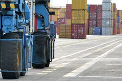 Cranes and containers on the dock Stock Image