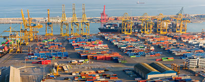 Cranes and Containers at the Port of Barcelona Stock Photo