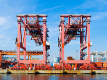 Cranes for containers. Two cranes at the harbor of Genoa Royalty Free Stock Photography