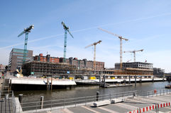 Cranes on contruction site Royalty Free Stock Photography