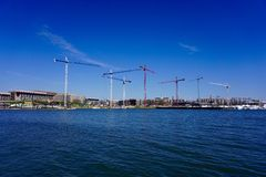 Cranes in DC's Waterfront Stock Images