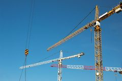 Cranes. With deep blue sky background stock image