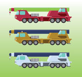 Cranes in different colors. Colorful cranes with six wheels and different colors Stock Photos